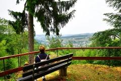 Ruhebank bein Rundwanderweg 3 mit Blick auf Serrig und das Kasteler Plateau